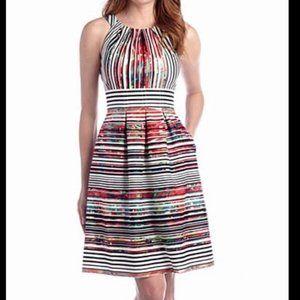 Nine West Colourful Striped Pleated Dress Sz 12